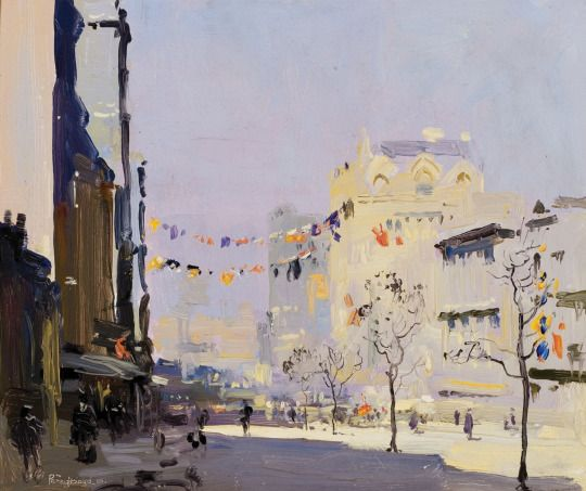 Penleigh Boyd (Australian, 1890-1923), Queen Street during the Prince's Visit, 1920. Oil on panel, 28 x 44.5 cm.