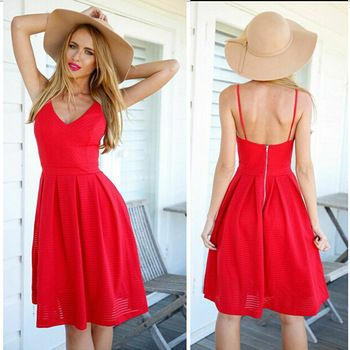 2015 new hot selling red sexy women summer dress knee length pleated dress deep v neck Polyester pleated dress free shipping Price: US $14.98