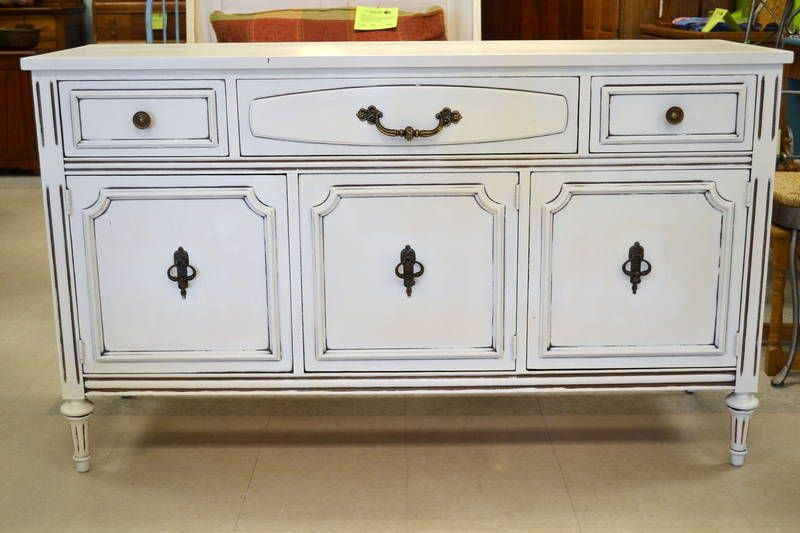 Knechtel Furniture Distressed Cream Colored And Walnut Sideboard With 3 Door Fronted Open Cupboard Top Drawers 54 W X 18 D 33 H