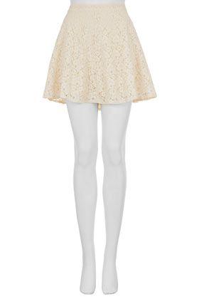 Cream Lace Skater Skirt