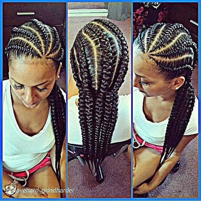 8 Big Corn Row Styles We Are Loving On Pinterest Natural Hair Styles Hair Styles Cornrows Styles