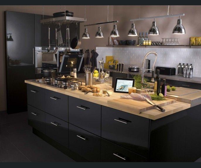 Belle cuisine gris fonce moderne by le fournisseur Ixina à - agencement de cuisine ouverte