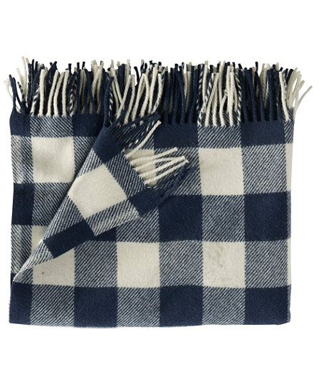 L Bean Washable Wool Throw Cream Indigo Heather Buffalo Check Plaid 54 X 60 99 00