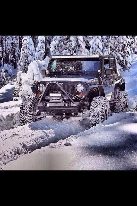Black Jeep In The Snow Jeep Jeep Wrangler Badass Jeep