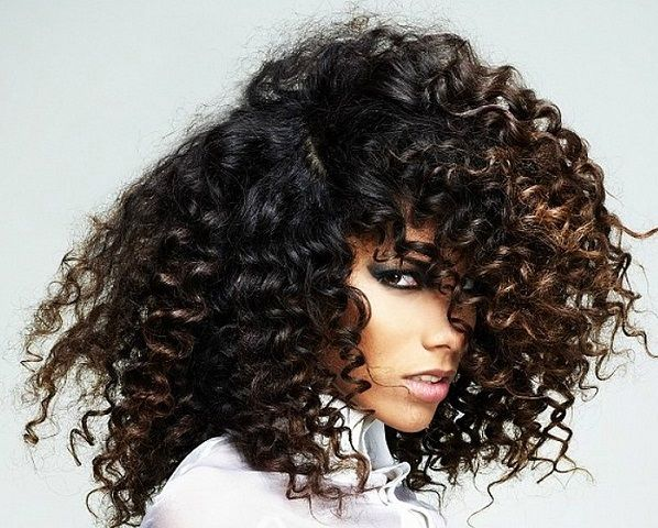 Long Black Curly Hair Warm Chocolate Brown Highlights With Images