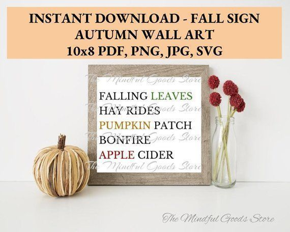 Fall Sign Wall Art Instant Download 10 X 8 Printable Svg Pumpkins Hay Rides Falling Leaves Wall Art Bonfire Wall Signs Fall Signs Wall Art