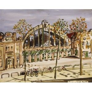 """Barcelona Art Market """"North Station in Barcelona"""" Technique: WATERCOLOR on paper Artist: BENJAMÍ TOUS Size of set: 46 x 61 cm / 18.1 x 24 inches #painting"""