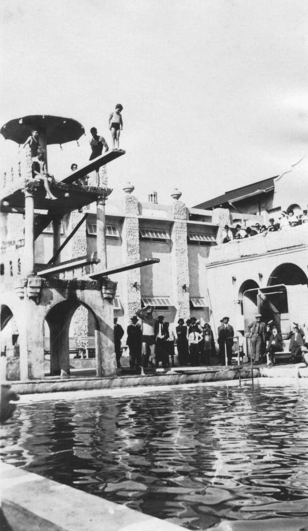 View Of Child On Diving Platform At The Lake Worth And Pool Archives Florida Memory