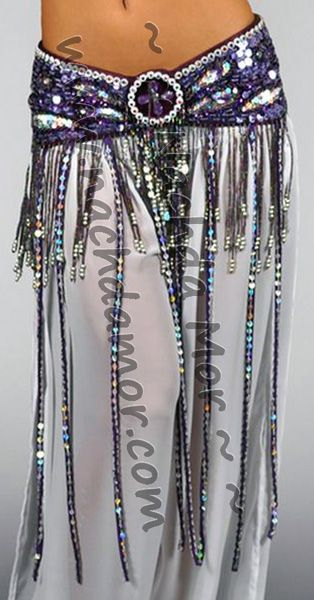 """Purple belly dance butterfly fringe hip belt. Decorated with sequins and white beads with color centers. Fringe with beaded ends hang along the bottom edge. Longer sequined strands hang along the front bottom edge only. Velcro plus hook and eye closure. Available in 2 sizes: Small/Medium (34""""-36""""L) or Medium/Large (36""""-38""""L)."""