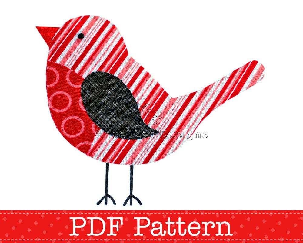 Robin Applique Template PDF Pattern Christmas Robin Bird Animal ...