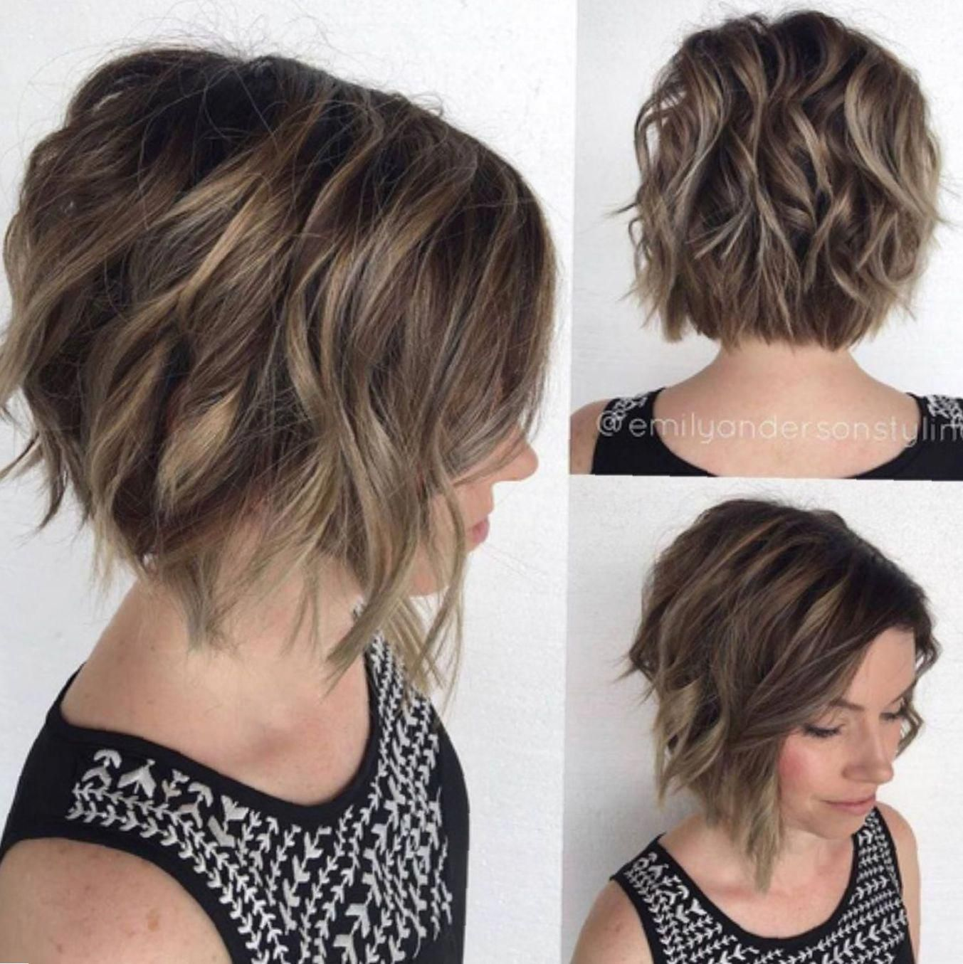 wavy angled bob for thick hair #angledbobhairstyles | becky