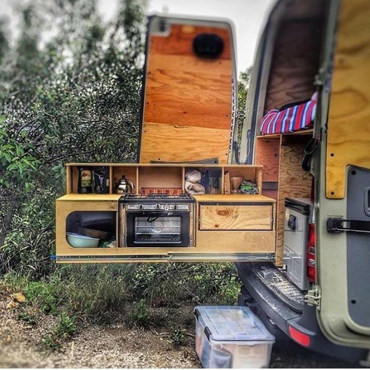 """Photo of Escape • Travel • Discover 🚐🌎 on Instagram: """"Some people like to cook inside.  With this slide out setup it lets you cook outside.…"""""""