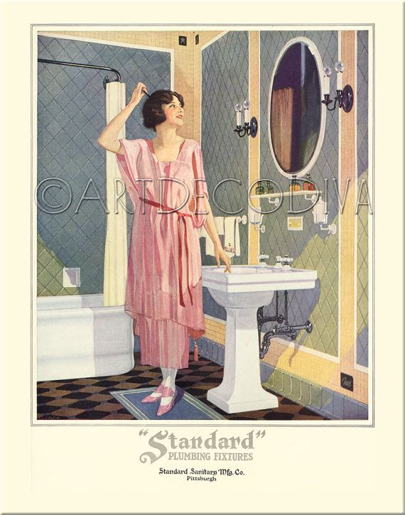 Vintage 1920u0027s DECO Bath Tub Bathroom Sink Pastel Tile Pink Dress Girl Hair  Beauty Style Poster
