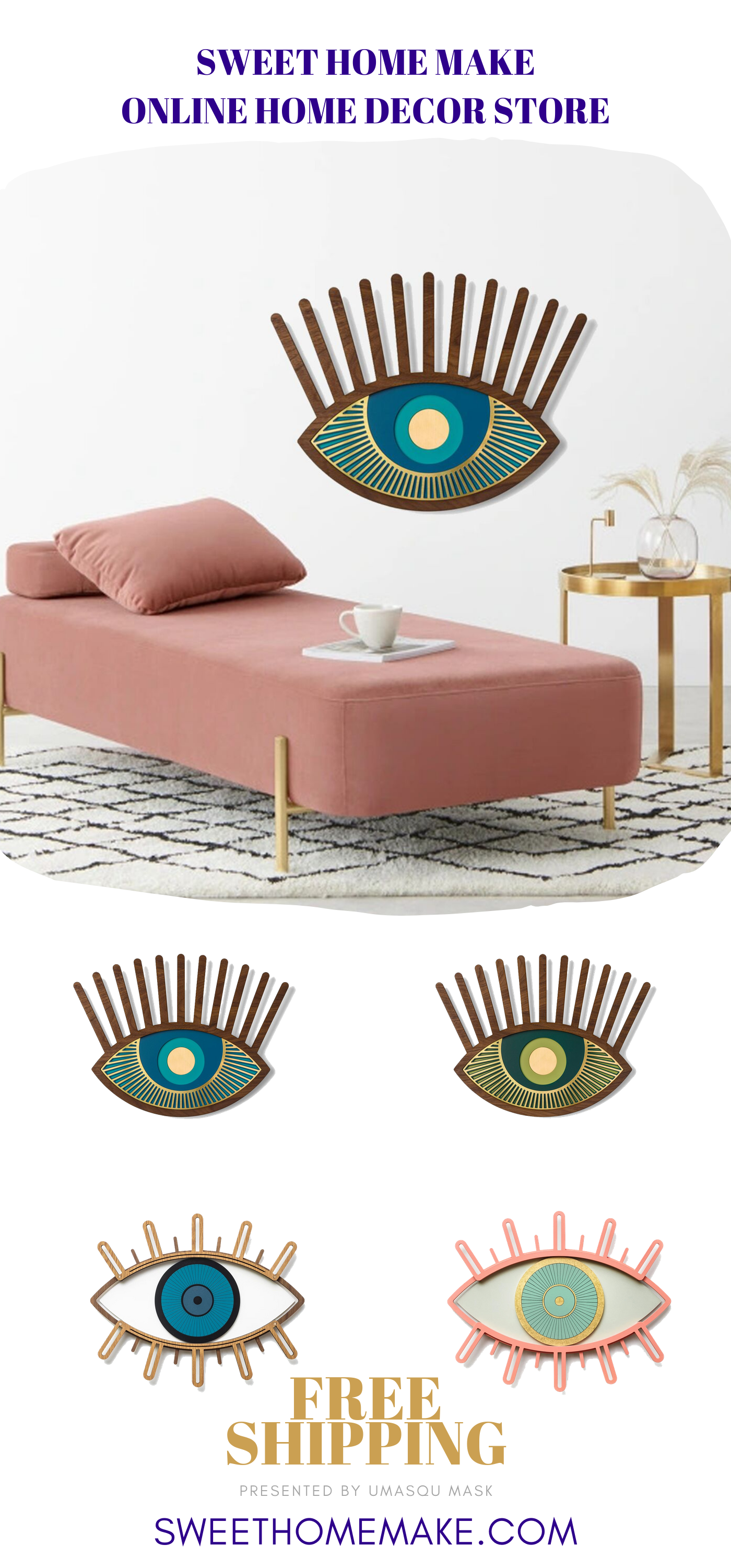Sweet Wall Decor Behind Couch with Pink, Blue, Green ...