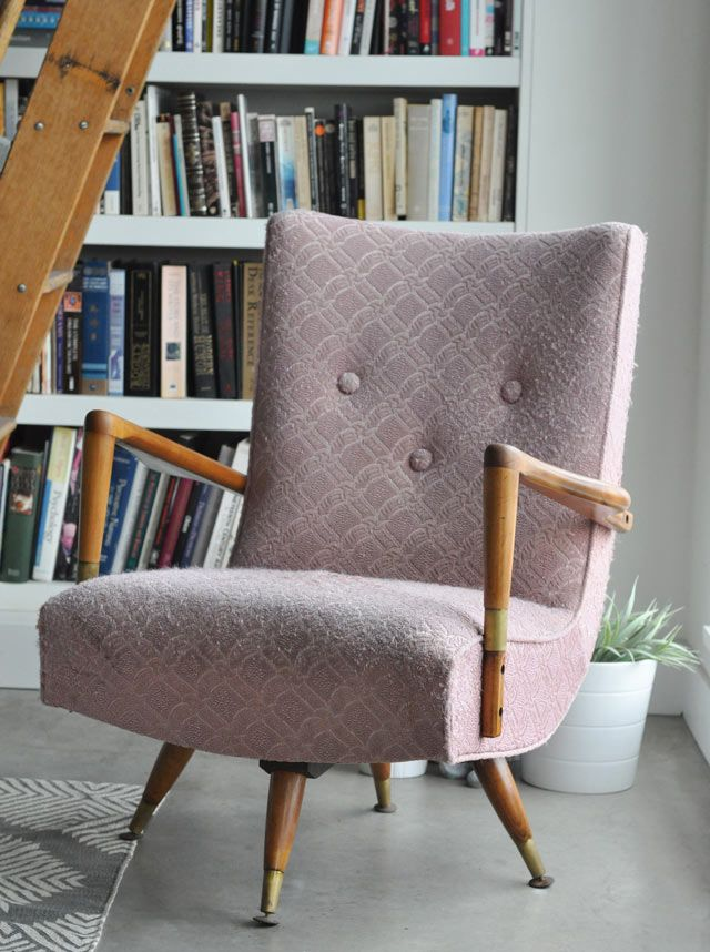 Pink Upholstered Midcentury Chair With Wood And Metal Arms And Legs
