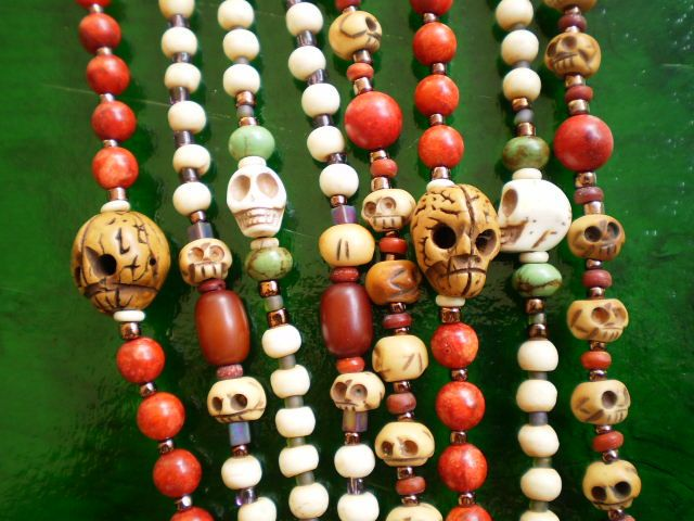 Genuine antique rosaries with original skulls are rare and quite expensive, so modern rosaries made in the ancient tradition of a strung rosary make an affordable choice.