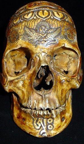 Tibetan carved human skull