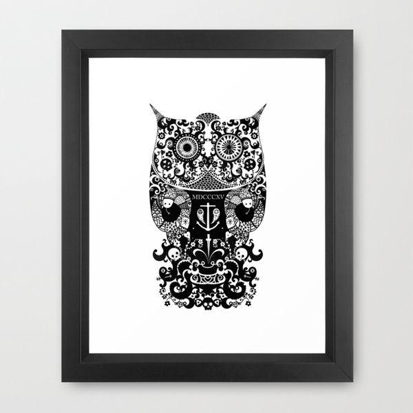 The Old Owl  - Black Framed Art Print
