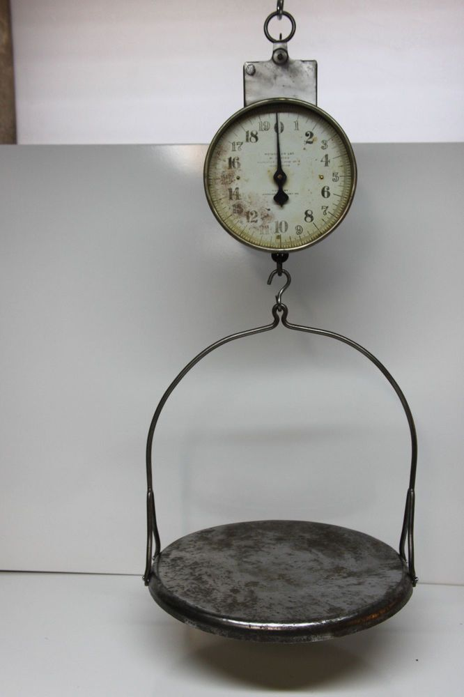 Superb Antique Vintage American Cutlery Co. Hanging Scale W/ Flat Tray   20 Lbs #