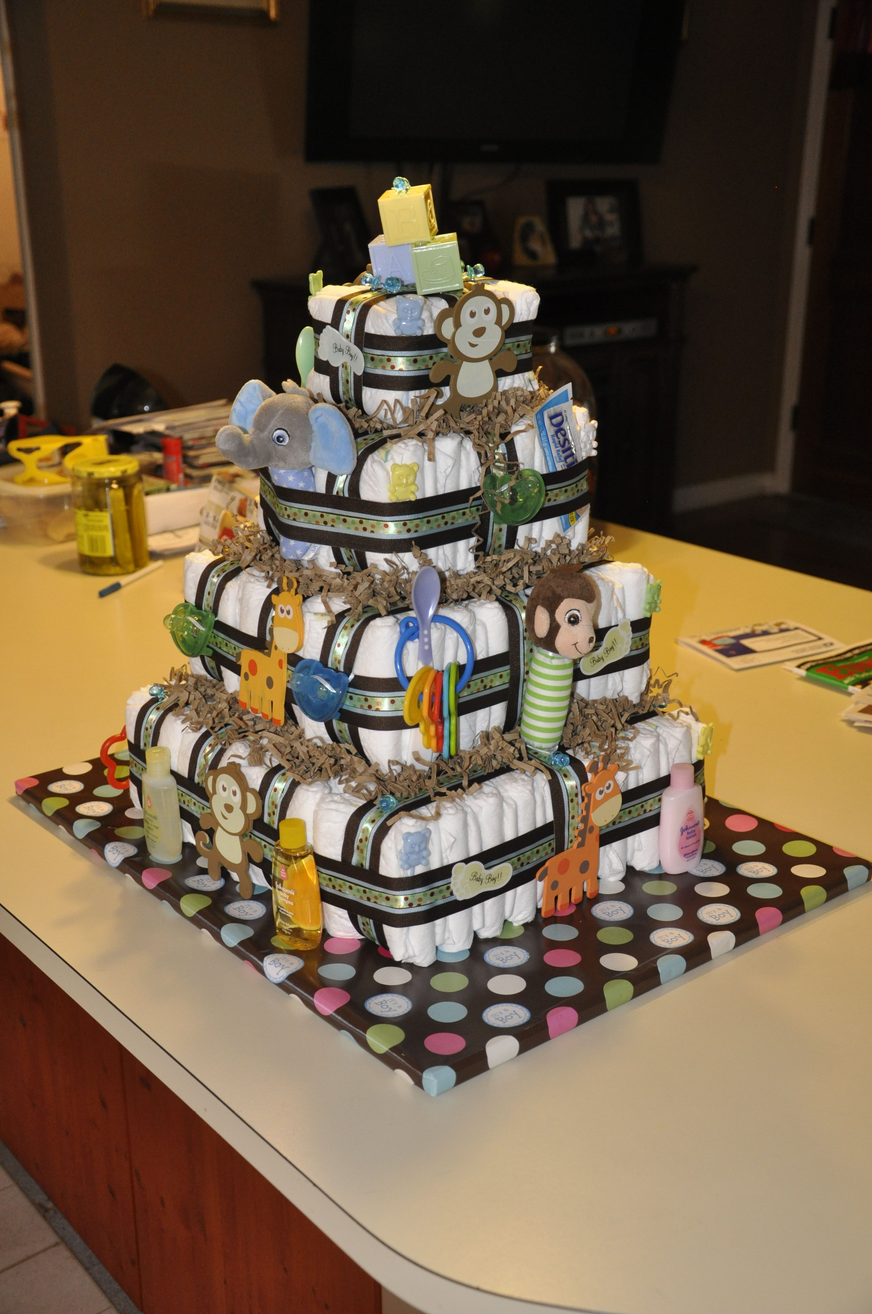 Four Tier Square Diaper Cake With Images Baby Shower Baskets