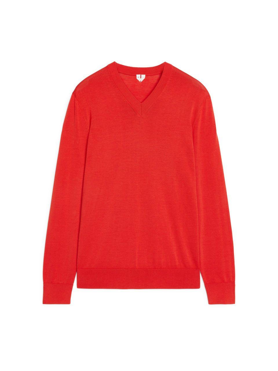 7af76d14c4c7 122059-291 - Cotton Silk V-Neck Jumper. A blend of cotton and ...