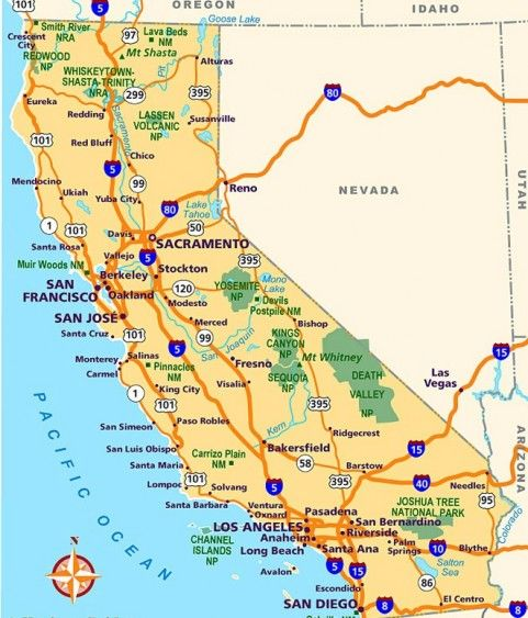 Map of California Big Sur San Fran Sequoia Redwoods here we