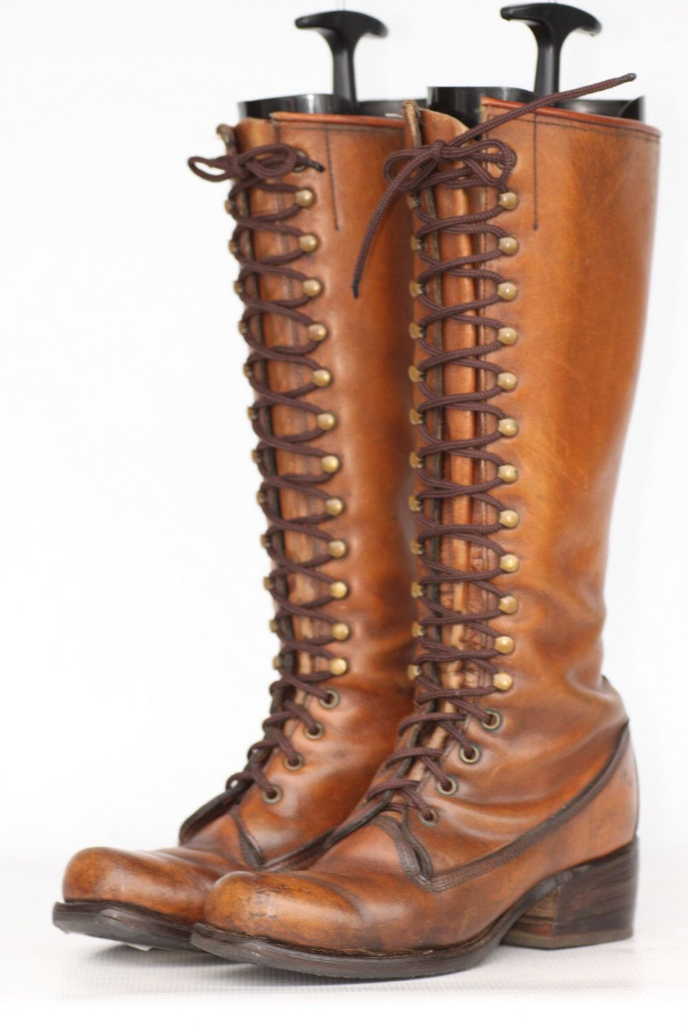 Tall vintage Black Label Frye oiled leather lace up campus riding ...