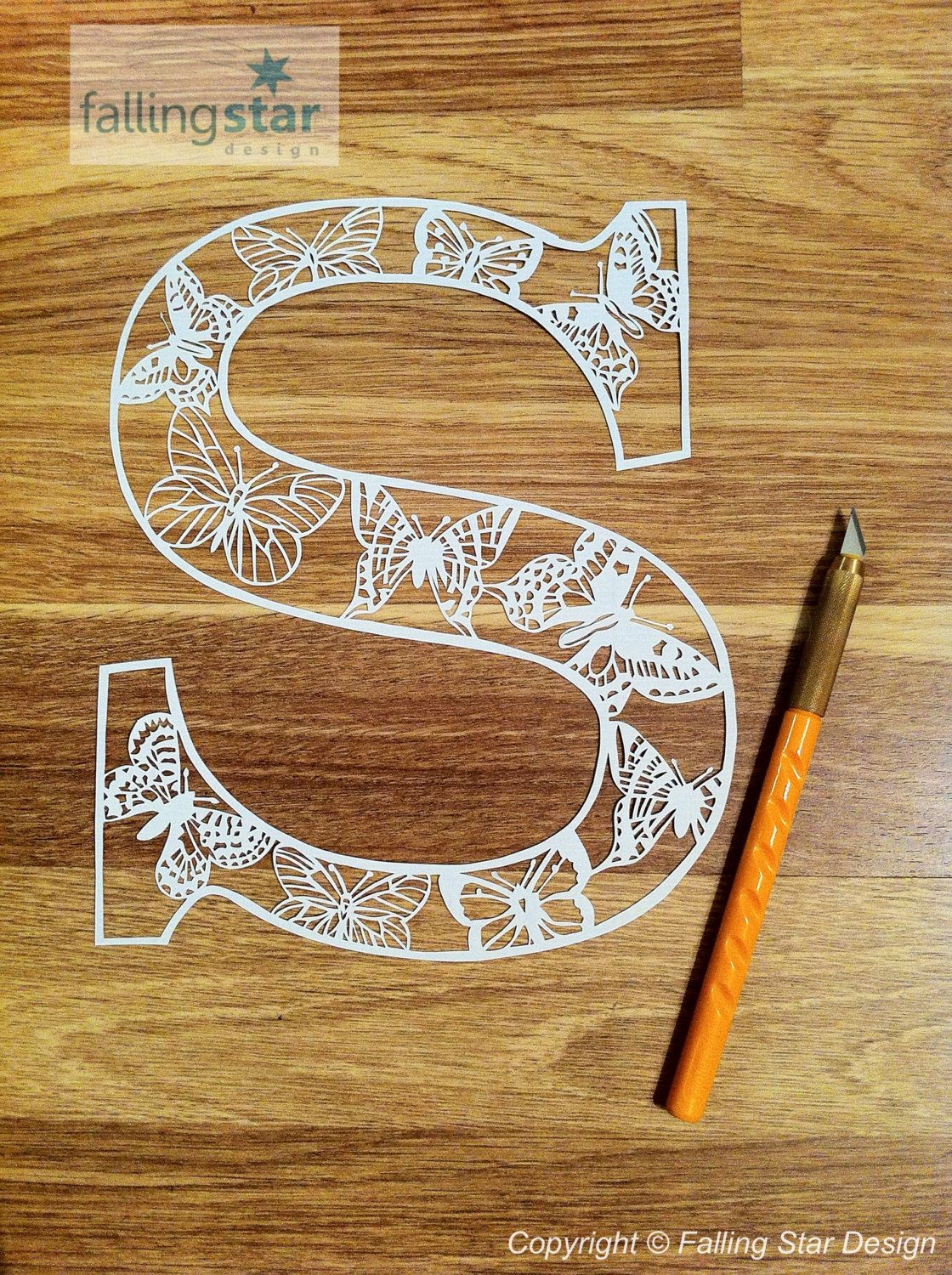 S is for Butterfly Letter Papercutting Template by FallingStarCuts ...