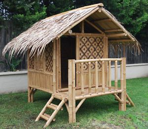 Hand Crafted Bamboo Kid S Cubby House Cubbie Playhouse Outdoor Cubbie Ebay Bamboo House Design Play Houses Bamboo Building