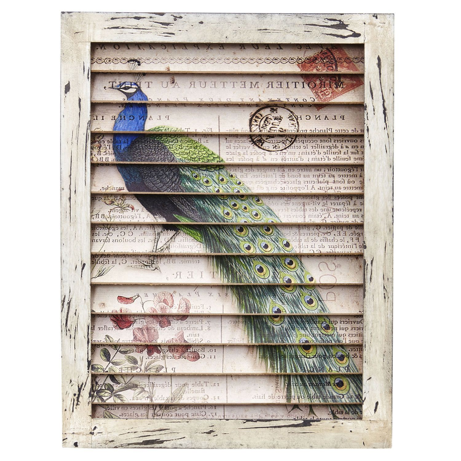 Romantic Florals And Vintage Calligraphy Combine To Turn This Window Shutter Into A Work Of Art Printed On We Shutter Wall Decor Shutter Wall Peacock Wall Art