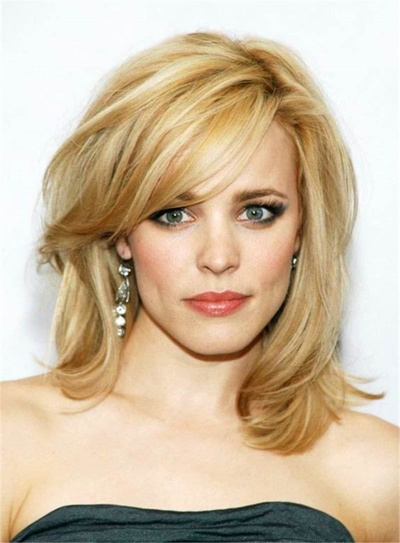 Blonde Straight Mixed Color Synthetic Hair With Bangs Medium Capless 14 Inches