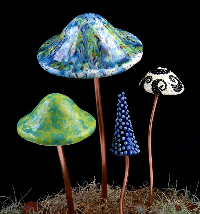 Garden Mushroom For Woodland Theme Wedding Glass Crafts Pottery Form Glass Mushrooms