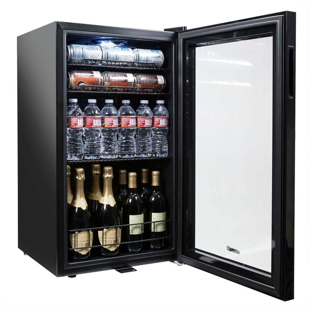 Newair 19 In 126 12 Oz Can Freestanding Beverage Cooler Fridge With Adjustable Shelves Modern Black Ab 1200b The Home Depot In 2020 Beverage Fridge Beverage Cooler Home Coffee Stations