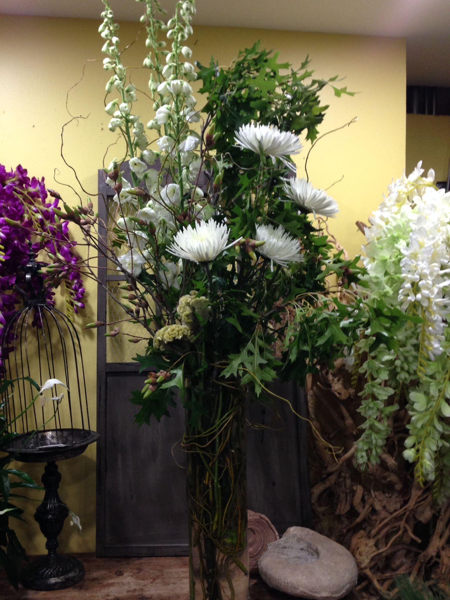The Virgin Forest- White Hybrid Delphinium, Green Celosia, Artichoke, Branches, Acorn, Curly Willow