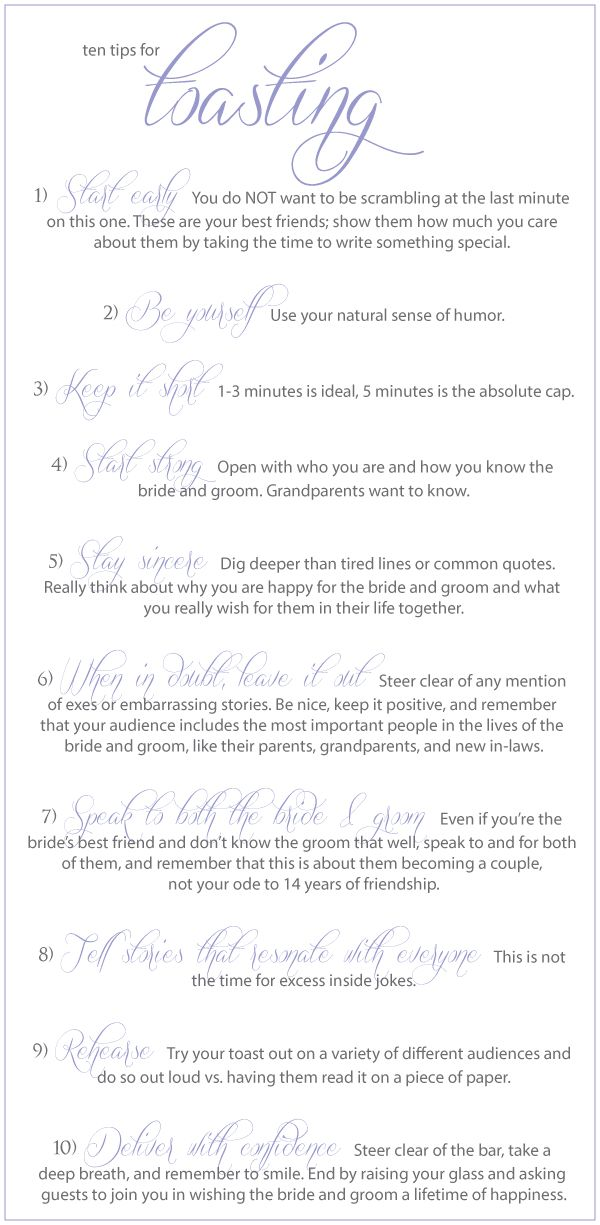 Wedding Toast Tips ;D hear that STEER clear of inside jokes haha oh ...