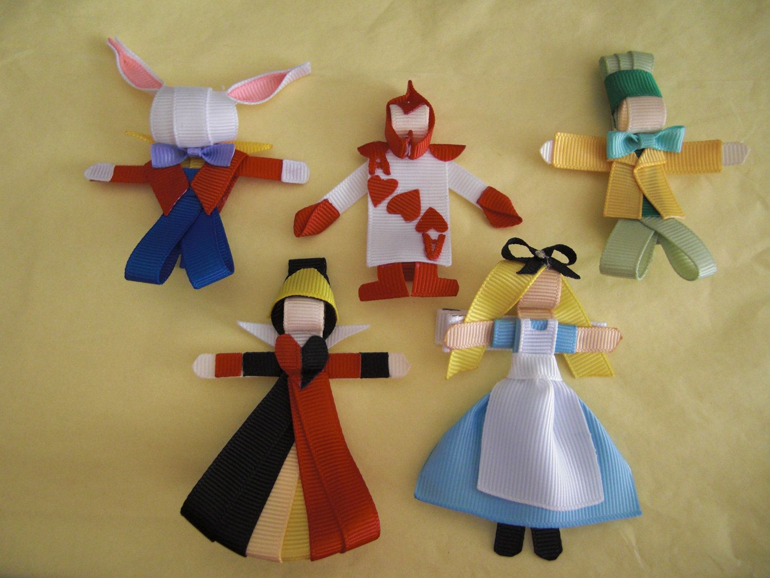 5pc Alice In Wonderland Shaped Character Clip Bow Set