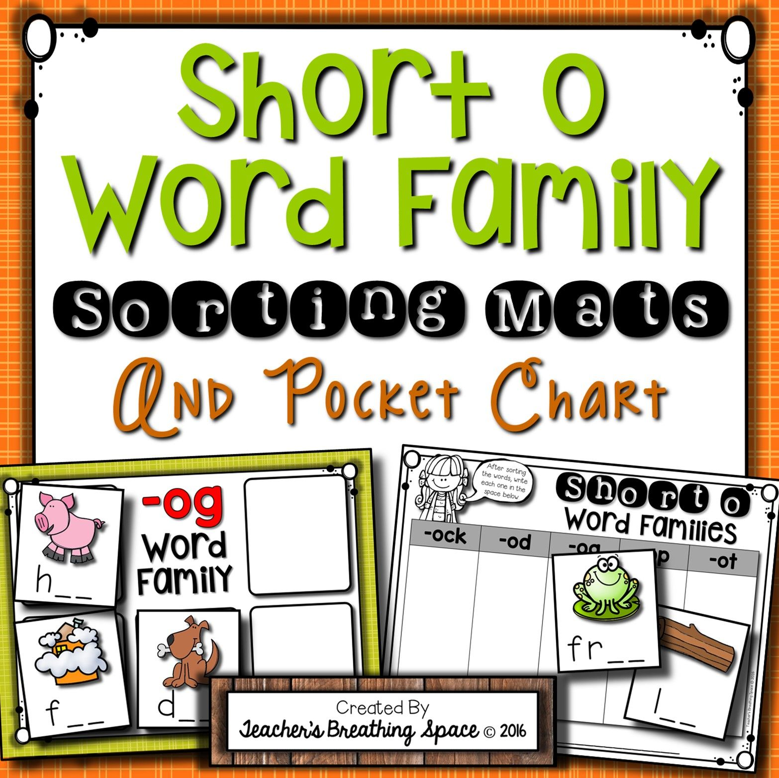 short o word family sorting mats and pocket chart includes 5 sorting mats