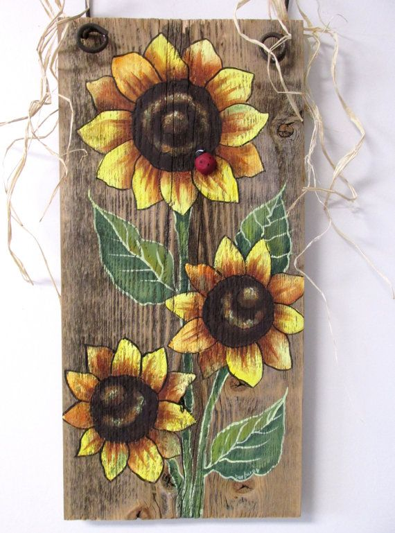 Sunflowers Yellow Tole Painted On Reclaimed Barn Wood Summer Time Flowers Reclaimed Wood Three Yellow Sunflowers And Red Lady Bug Painting On Wood Painted Boards Sunflower Painting