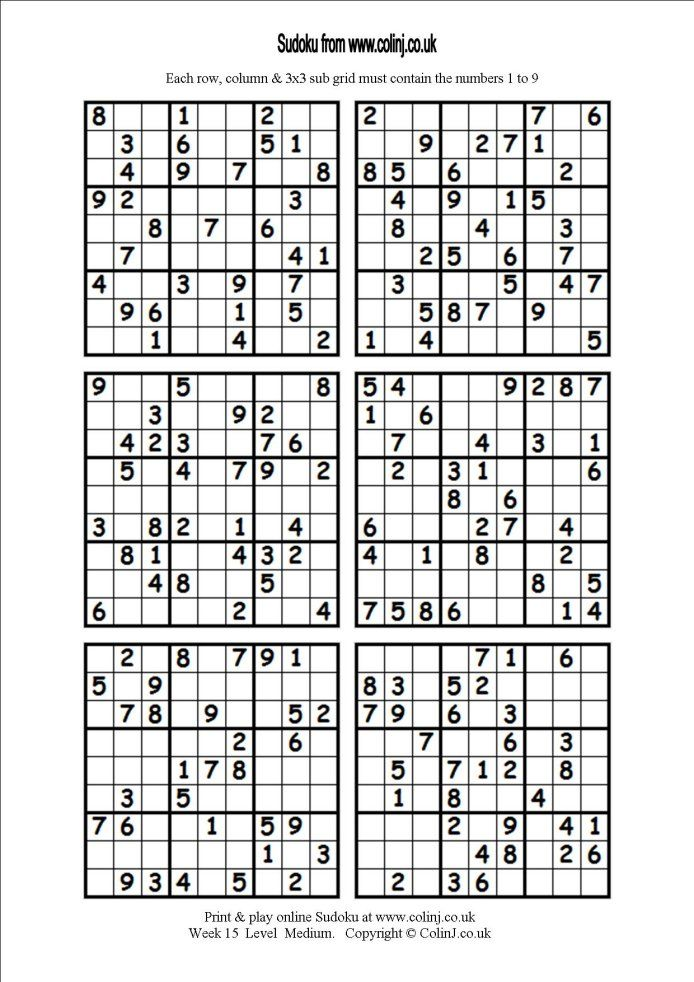Sudoku printable 6 per page | Classroom | Pinterest