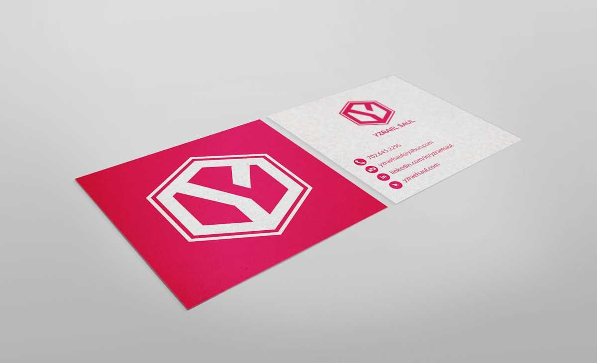 statement business cards. Square business cards with magenta and ...