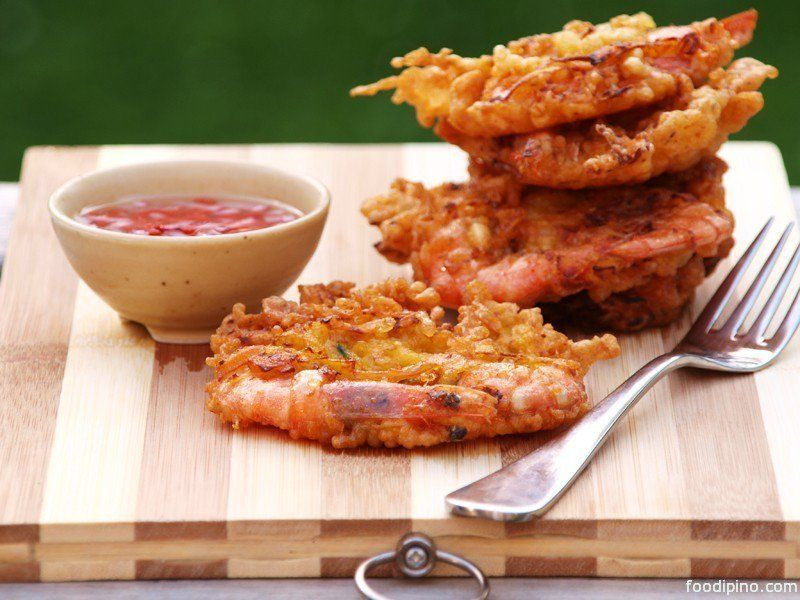 Ukoy, Okoy or Shrimp fritters started as an afternoon snack which is sold by street hawkers in Philippines.
