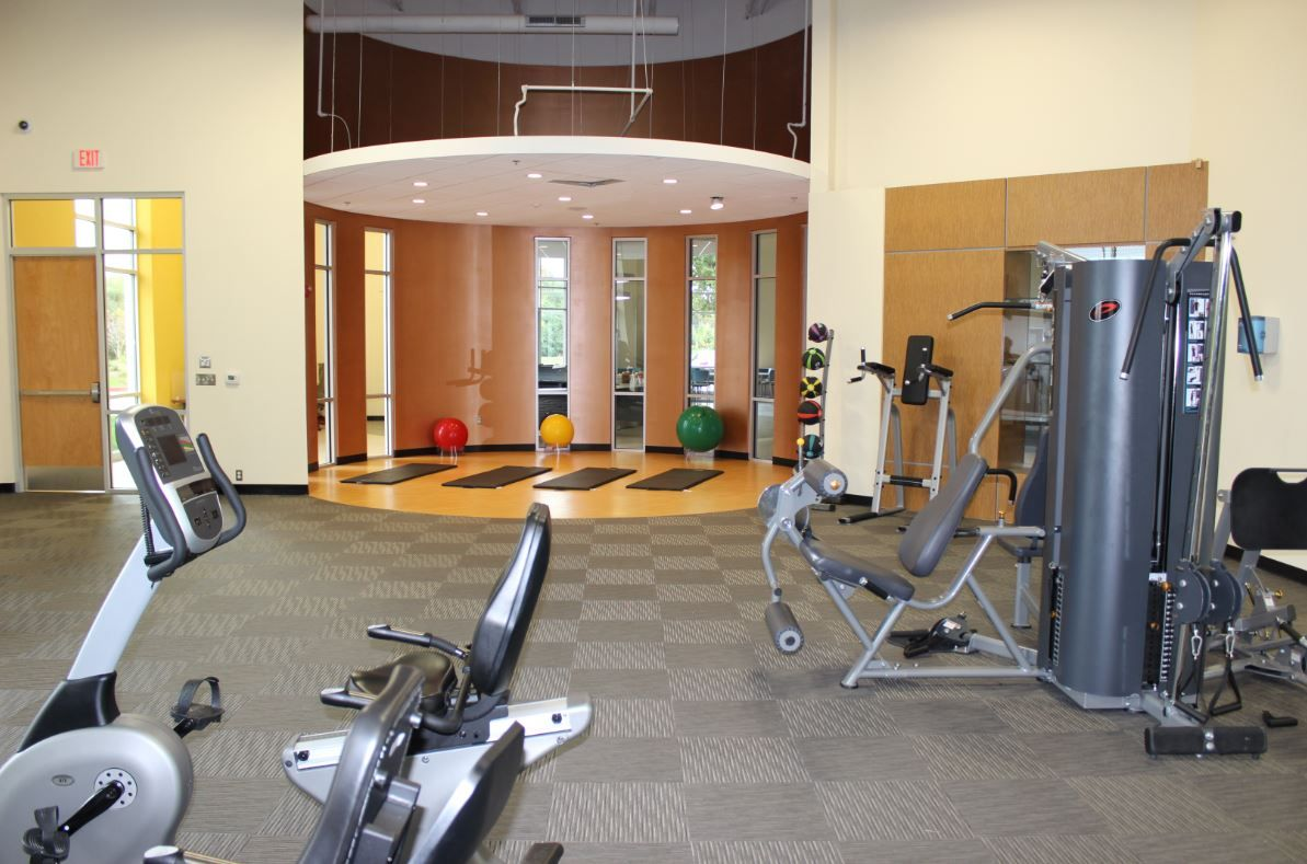 Stretching area in the fitness center.