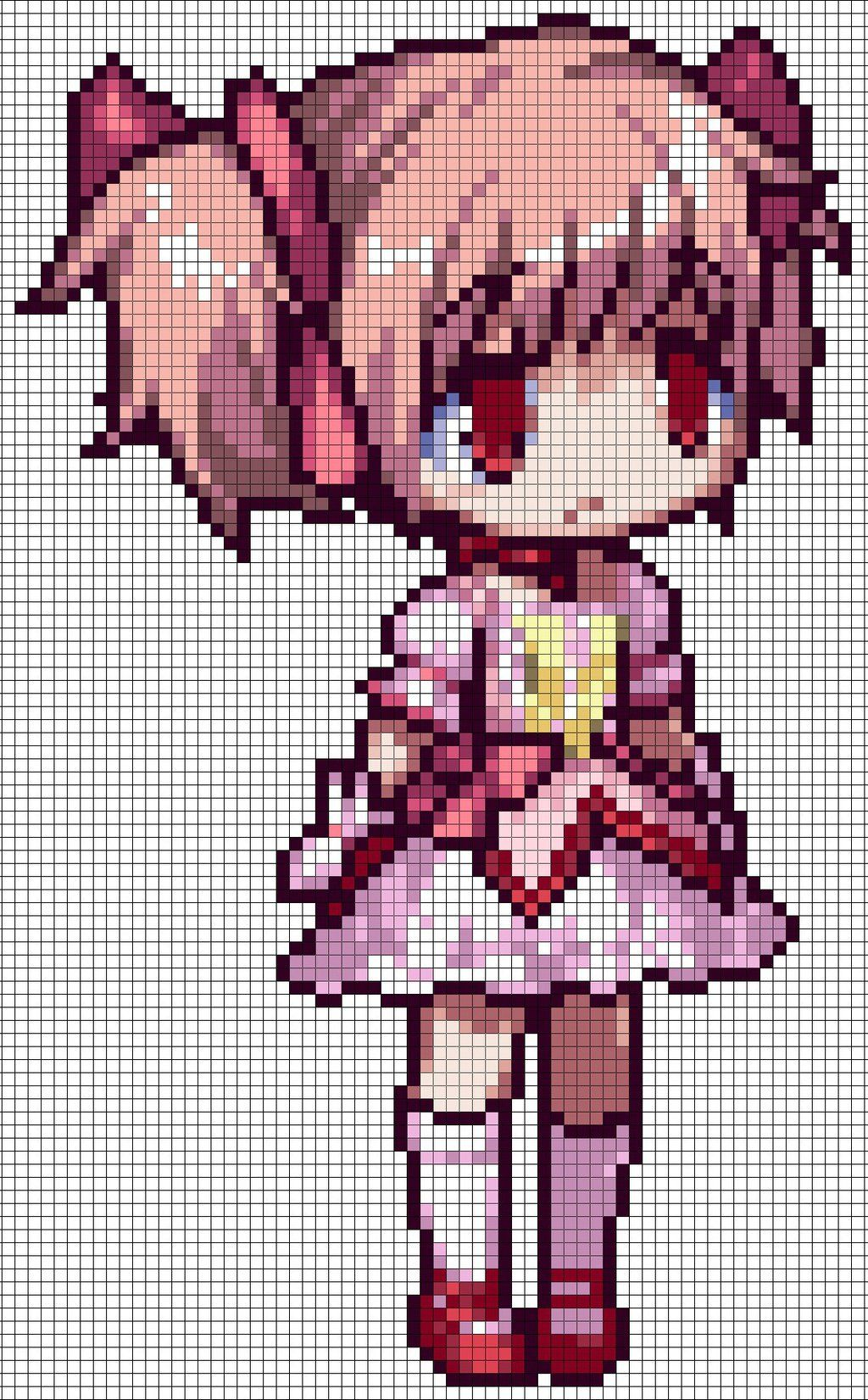 Cute Anime Pixel Art With Grid Pixel Art Grid Gallery