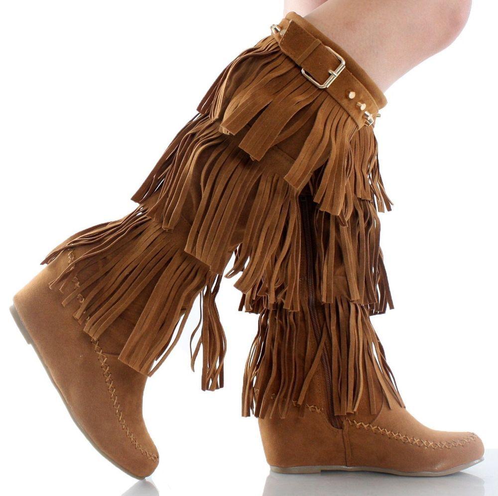 Tan Tassel Stud Triple Fringe Knee High Heel Hidden Wedge Moccasin Boots Womens #NatureBreeze #FashionKneeHigh