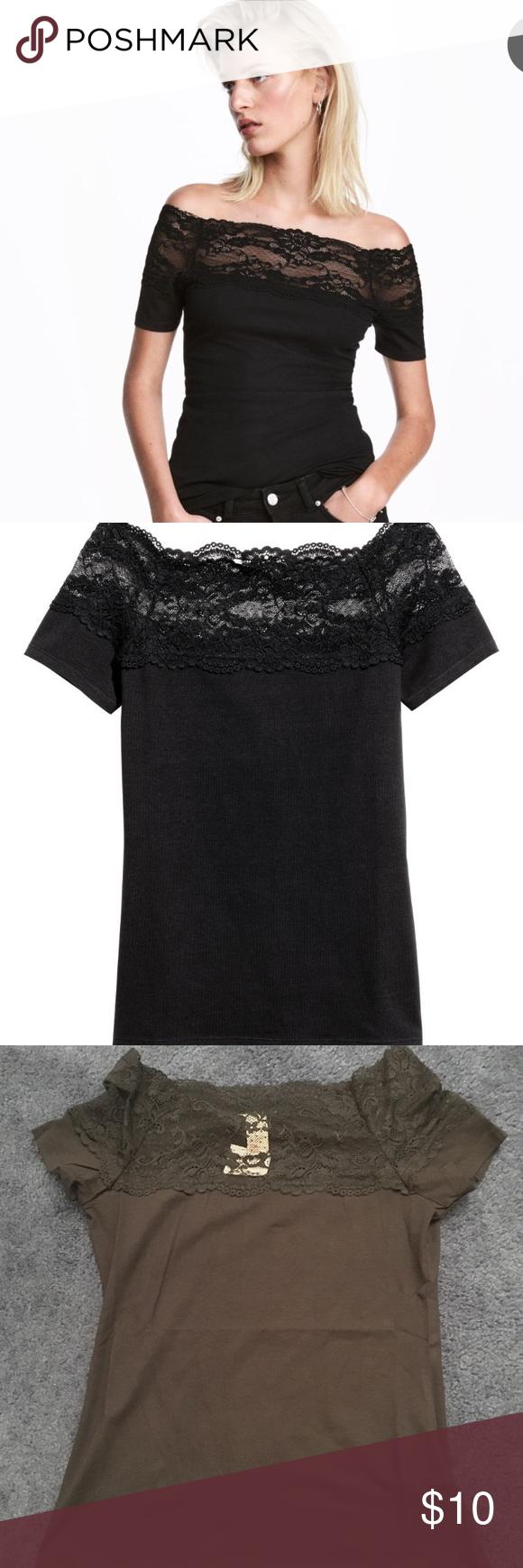 7c8037f446d0ca Off shoulder lace top H&m off shoulder lace top. 95% cotton 5% spandex H&M  Tops Tees - Short Sleeve