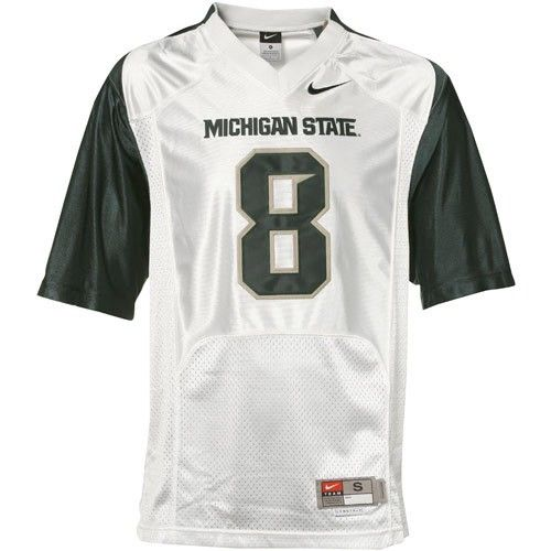 super popular 197d9 11807 Michigan State Spartans #8 White Twilled Replica Football ...