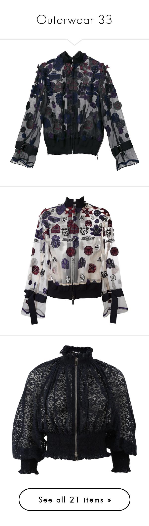 """Outerwear 33"" by katiemarilexa ❤ liked on Polyvore featuring outerwear, jackets, blue, sacai jacket, straight jacket, bomber style jacket, mandarin collar jacket, long sleeve jacket, orange and print bomber jacket"