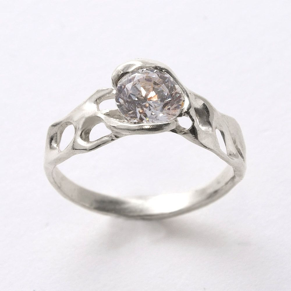 Bio L  14K White Gold and Diamond Engagement Ring  by doronmerav, $2,800.00
