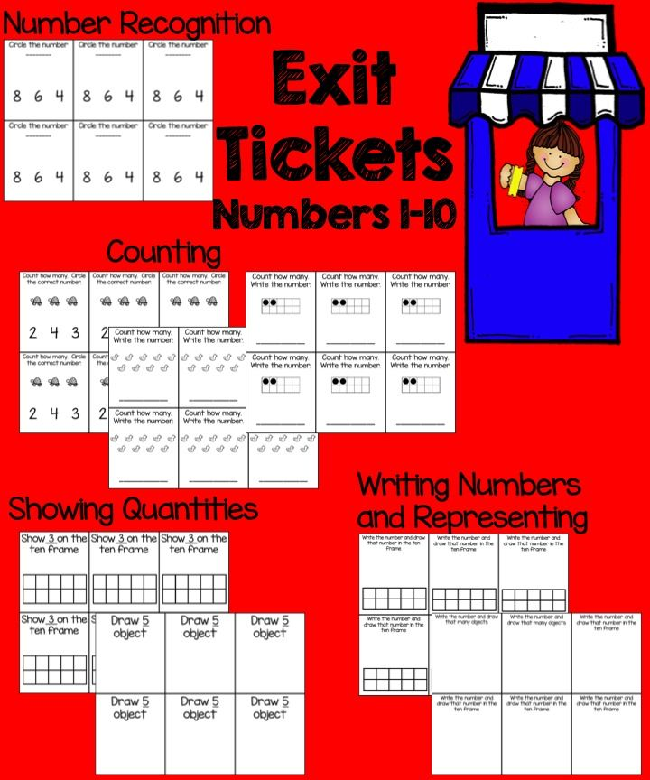 Numbers 1-10 Exit Tickets  Quick Checks Writing numbers, Number - Exit Ticket Template