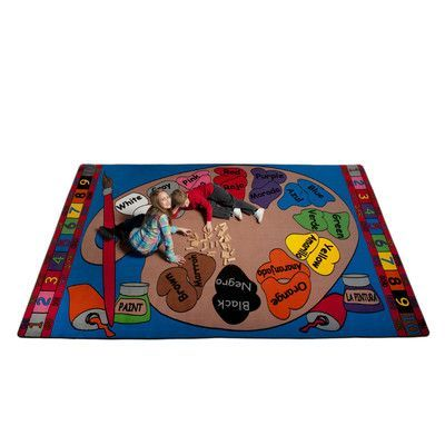 Kid Carpet Paint Palette Spanish Circle Time Indoor/Outdoor Area Rug Rug Size: